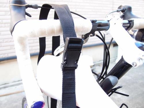 輪行袋の肩掛けショルダーベルトを拡張してバックル接続と長さ調整も簡単にする