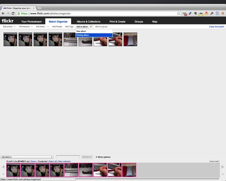 flickrアルバム名変更