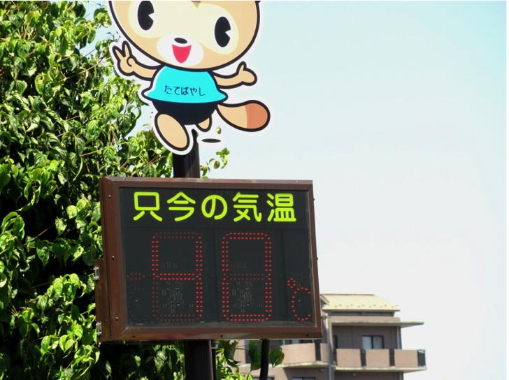 館林市の駅前温度計