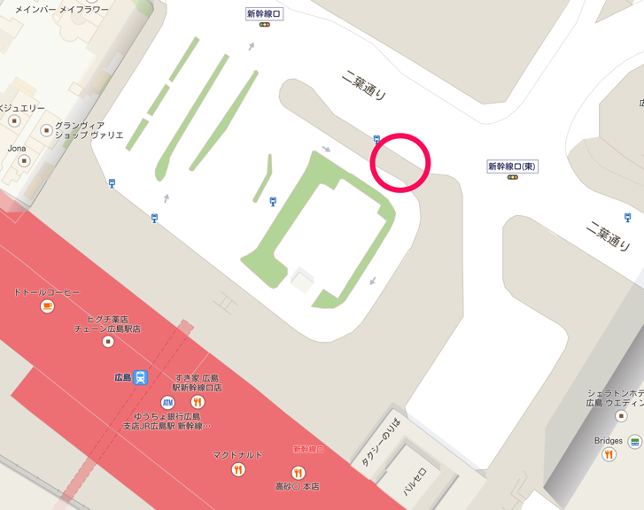 広島駅での広島空港行きリムジンバス乗り場