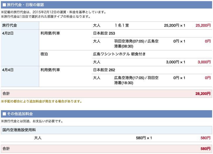 阪急交通社での広島旅行旅費