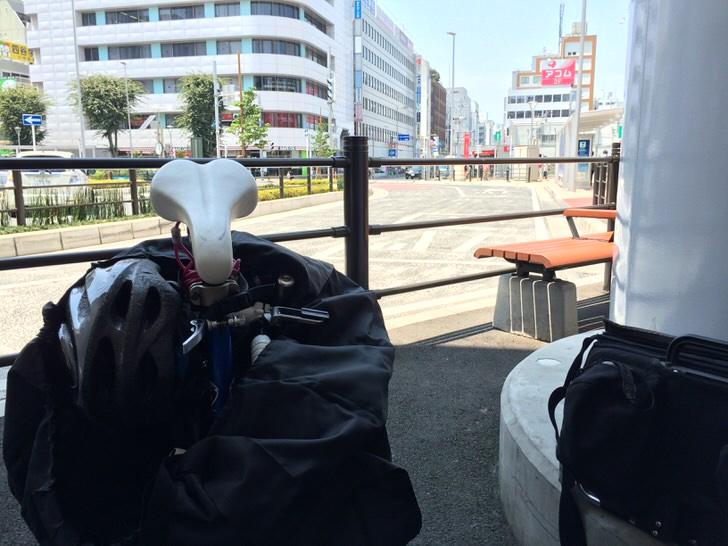 川越駅にて輪行