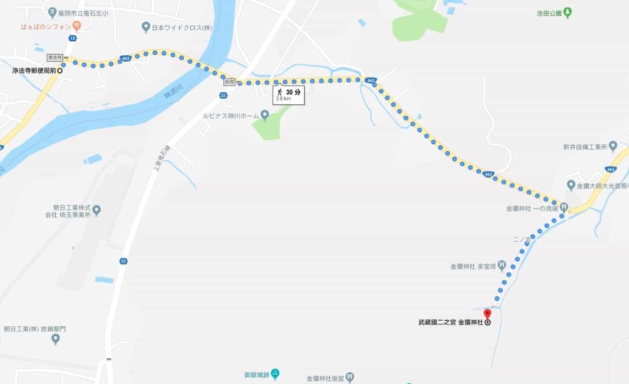 バス停から金鑚神社までの道順