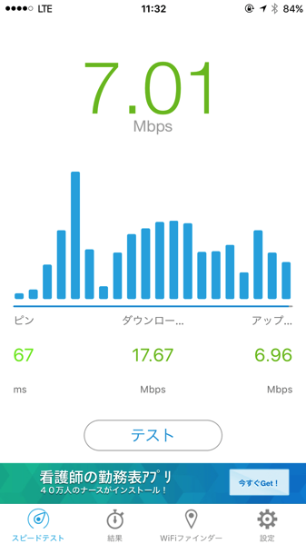 浅草寺でのIIJ通信スピード