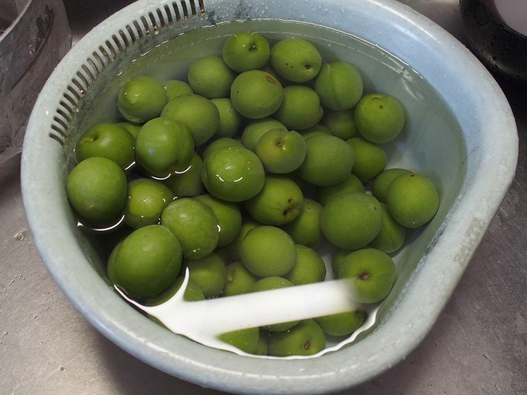 梅を水に2時間程度漬ける