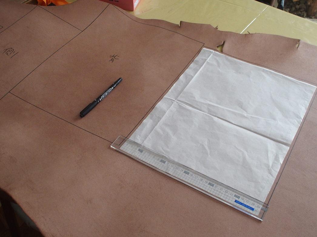 革細工型紙に合わせて材料最適に取る