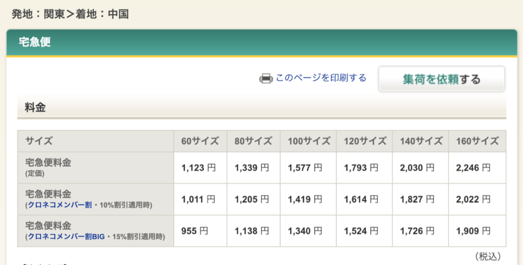 クロネコヤマトの宅急便で埼玉から出雲料金