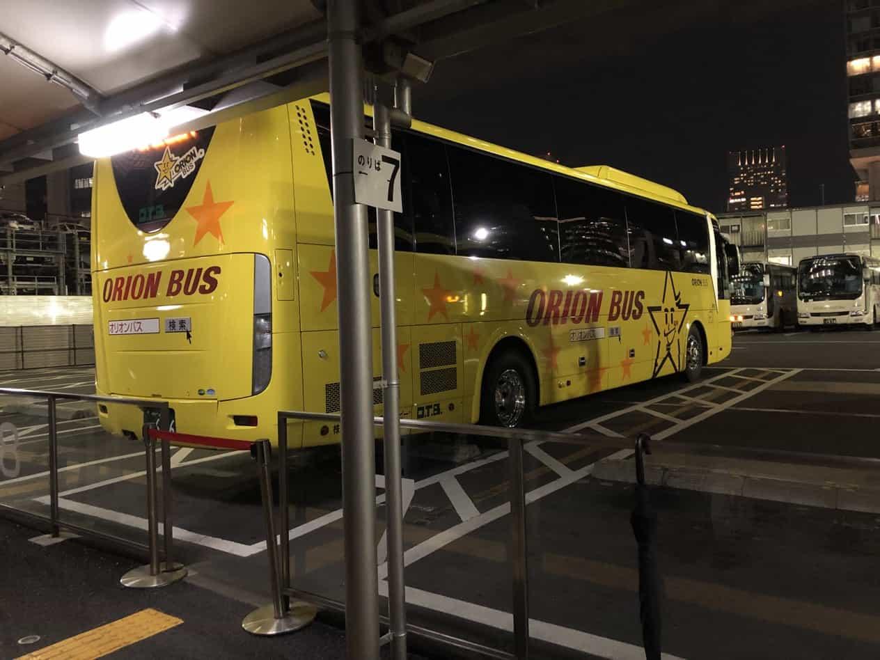 オリオンツアーの夜行バスで出雲まで12時間