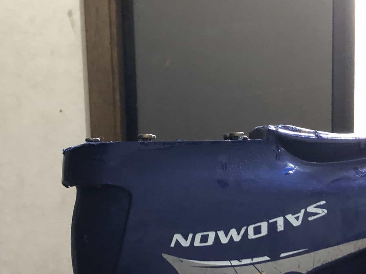 スキーブーツの踵が壊れたとき