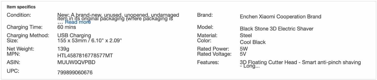 Xiaomi電気カミソリ仕様
