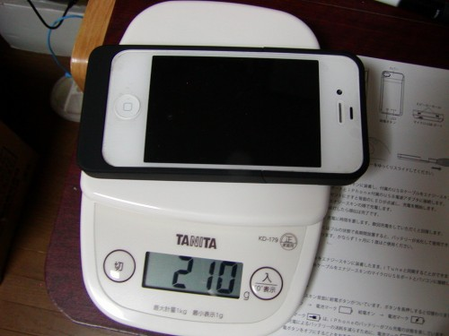 iPhoneとバッテリーケース総重量
