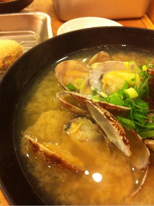 松江の大阪新世界でのアサリ汁